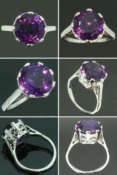 Purple amethyst ring platinum vintage by adinantiquejewellery, $2150.00