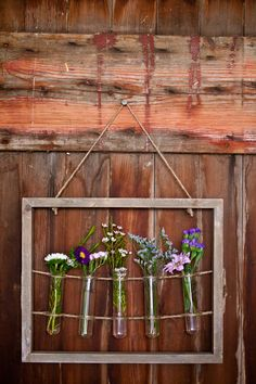 A rustic country barn wedding in the Finger Lakes at Wingate Barn, Livonia NY Flower Picture Frames, Flower Frame, Flower Wall, Flower Vases, Flower Arrangements, Bud Vases, Test Tube Crafts, Test Tube Holder, Patina Style