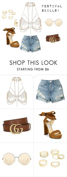 """Festival skills!"" by maria-stratulat on Polyvore featuring River Island, 3x1, Gucci, Jimmy Choo, Victoria Beckham, Charlotte Russe and Yves Saint Laurent"