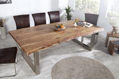 """Massiver Baumtisch Esstisch MAMMUT 240cm Akazie verchromte Kufenfüße - Back to nature - Entdecken Sie unseren großen Esstisch """"MAMMUT"""" in 240 cm mit seiner naturbelassenen Tischplatte! Als besonderes"""