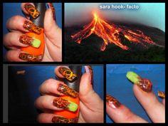 volcano nail art - by sara facto -pinkey nails