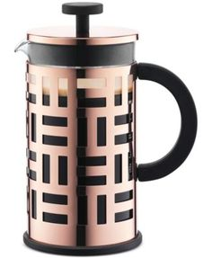 Go green and go for great taste with this Eileen 8-Cup Copper French Press Coffee Maker from Bodum. Its stainless steel mesh filter helps extract the maximum flavor from your coffee without the waste