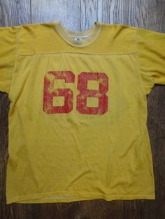"""Vintage 1970s 70s yellow red durene sports top 48"""" chest sportswear American football hockey t shirt jersey by TheDustbowlVintage on Etsy https://www.etsy.com/listing/254323418/vintage-1970s-70s-yellow-red-durene"""