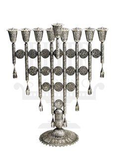 "#Yemenite #Filigree #Silver #Menorah 16.5"""