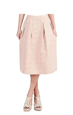 Soft PinK and Gold Jacquard Midi Skirt