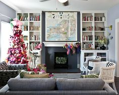 fireplace and built-in bookcases
