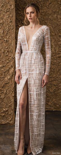 nurit hen 2018 bridal long sleeves deep v neck full embellishment high slit skirt modern sheath wedding dress open v back sweep train (13) mv