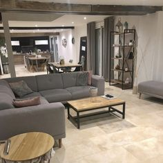Panoramic sofa Luna bobochic Bobochic sofa Paris spacious living room open to the kitchen living room Scandinavian style gray . Spacious Living Room, Living Room Kitchen, Grey Corner Sofa, Coffee Table Rectangle, Sofa Design, Sweet Home, New Homes, Couch, Rose Pale