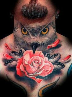 Owl head with rose tattoo on chest