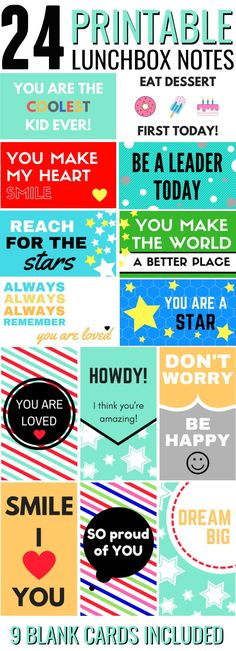 2f28dc75c250 Back to School - Printable Lunchbox Notes for lunches