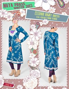Eleanor-Rigby dress teal Ethnic Floral
