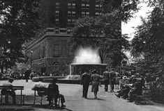 old detroit photos   The Edison Memorial Fountain with the Statler Hotel in the background ...