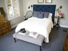 Navy blue guest bedroom