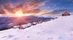 La neige, le soleil et les maisons...