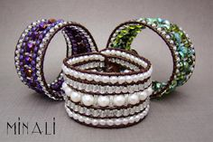 Southern Girls Wear Pearls, Purple Haze & Emerald Seas - Leather & Gemstone Cuff Wrap Bracelet