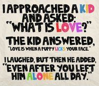 """I approached a kid and asked, """"What is love?"""" The kid answered, """"Love is when a puppy licks your face."""" I laughed, but then he added, """"Even after you left him alone all day."""""""