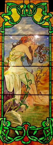 Alphonse Mucha (1860-1939) (Attributed) - Art Nouveau Leaded Glass Panel (One of the Four Seasons). Painted & Coloured Glass with Lead Came. Circa 1900.