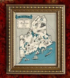 Custom MAINE MAP Art Print VIntage Map Retro Personalized Map Wedding Housewarming Gift Home Decor Wall Decor 8x10 All 50 States Avail.. $12.00, via Etsy.