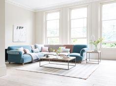 Soufflé modular corner sofa with the Soufflé footstool Modular Corner Sofa, Modular Sofa, Sofa Design, Interior Design, Living Room Sofa, Living Room Decor, Bespoke Sofas, Comfy Sofa, Beautiful Living Rooms