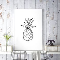 Pineapple Print, Kitchen Art, Black and White Line Art, Large Wall Art, Pineapple Decor, Simple Drawing, Sketch Art, Printable Wall Art, Digital Download Art - by HappyCatDownloads