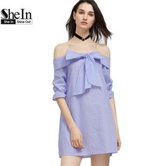 SheIn Summer Dress Blue And White Striped Bow Tie Fold Off The Shoulder Dress Womens Half Sleeve Cute Shift Dress