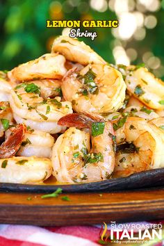 Lemon-garlic shrimp is bursting with flavor, truly better than any restaurant. A one-skillet meal, made in just 20 minutes, this is a recipe you are not going to want to pass up. A silky lemon butter sauce is served over these succulent shrimp, cooked jus Fish Recipes, Seafood Recipes, Dinner Recipes, Cooking Recipes, Healthy Recipes, Cooking Corn, Skillet Recipes, Recipies, Shrimp Dishes