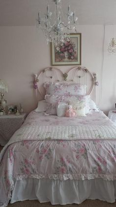 #Shabby_Chic headboard...iron bed painted pink