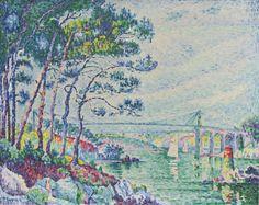 'LE PONT DE LÉZARDRIEUX' 1925  Paul Signac. Oil on canvas: 28¾  x 36½ in. (73 x 92.7 cm) Taubman 2015 estate auction $3,550,000.