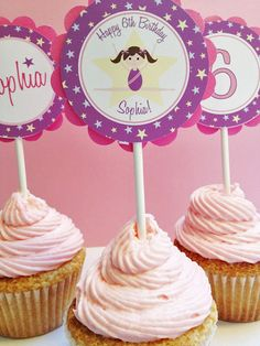 Gymnastic Party Personalized Cupcake Toppers  by LittlePigPress, $12.00