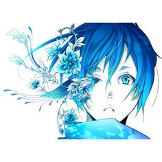 Render Kaito Vocaloid Alice Human Sacrifice Garcon Homme Bleu Fleurs... ❤ liked on Polyvore featuring home, home decor and anime