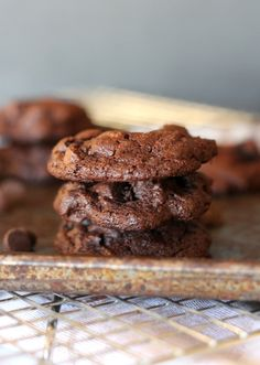 Gluten Free Chocolate Brownie Cookies | These are the ultimate in fudgy, delicious cookies! You can't tell they don't contain any flour! Recipe available at Bakerita.com