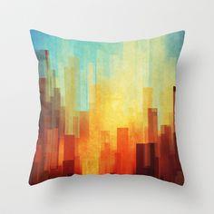 Urban sunset Throw Pillow by SensualPatterns - Cover x with pillow insert - Indoor Pillow Cushions On Sofa, Down Pillows, Orange Throw Pillows, Pillow Inspiration, Logo Inspiration, Abstract City, Designer Throw Pillows, Art Google, Love Art