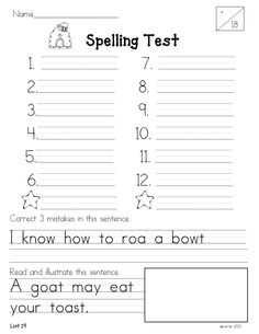 Year~Long 1st Grade Spelling Program Word lists and assessments