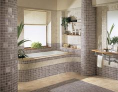 Bathroom with Small Square Tiles