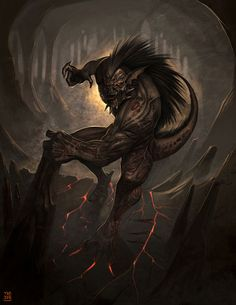Grendel was a monster that terrorized the court of King Hrothgar in the story of Beowulf. Princess Illustration, Illustration Art, Beowulf, Museum Exhibition, Dark Fantasy Art, Mythical Creatures, Graphic, Dungeons And Dragons, Illustrators