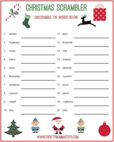 Christmas Scrambler Free Word Game Puzzle - Thrifty Mommas Tips