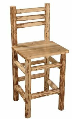 Rush Creek Log Cabin Style Pub Chair by Rush Creek. $92.40. Handcrafted Pine Log. Set includes. Includes all required hardware and simple instructions for assembly.. 90-day limited warranty. Belly up to any bar or pub table with this beautifully crafted Pub Chair. These rustic chairs are a great addition to any game room, home, or cabin.