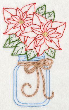 Blooming Poinsettias in Mason Jar (Vintage) design (L9425) from www.Emblibrary.com