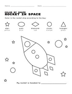 A twist on classic color by number pages, this coloring page asks kids to color by shape instead. Kids practice recognizing ovals, diamonds, and stars as they color a rocket shooting through space. Shapes Worksheets, Worksheets For Kids, Color Wheel Worksheet, Baking Soda Experiments, Kids News, Math Crafts, Mazes For Kids, Shape Matching, Preschool Class