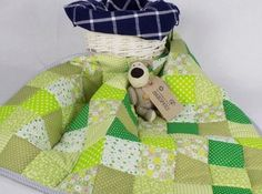 Green Baby Patchwork Quilt, shabby chic blanket, nursery quilt | Homemade quilts and keepsake baby blankets at AngiesPatch