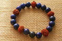 Lapis lazuli met rudraksha armband van EASTERNSOULS op Etsy