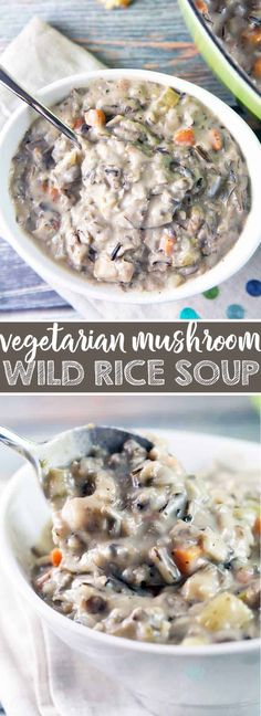 Vegetarian Mushroom and Wild Rice Soup: The ultimate hearty winter soup, this earthy, creamy soup si the perfect way to warm up all winter long. {Bunsen Burner Bakery} #soup #vegetarian #mushrooms #wildrice
