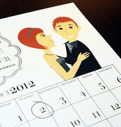Printable Caricature Calendar Save The Dates By Amalcolmpress