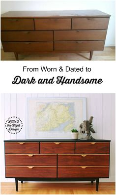 Worn and dated Mid Century Modern Dresser gets updated, with Sleek black paint and restored Walnut drawers and Handles. Mcm Furniture, Refurbished Furniture, Repurposed Furniture, Furniture Projects, Painted Furniture, Luxury Furniture, Retro Furniture Makeover, Upcycled Furniture Before And After, Wedding Furniture