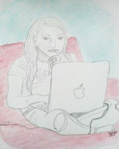 Day 23 of #ICAD2016 and a sketch of what I saw in front of me - my daughter on her laptop :) . #art #artstagram #sketch #sketchbook #sketching #drawing #pencil #artjournal #journal #linedrawing #illustration #currentview #girl #female #artistsoninstagram #artist #britishart #icad #indexcard #LoveTFT