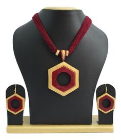 Handmade Terracotta Jewellery, Half Necklace Earring Set, Maroon, Gold – SharePyar