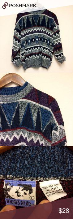 Vintage 1980s graphic geometric print sweater Vintage 1980s graphic geometric print sweater. Great condition. Men's size L, women's XL. Vintage Sweaters Crew & Scoop Necks