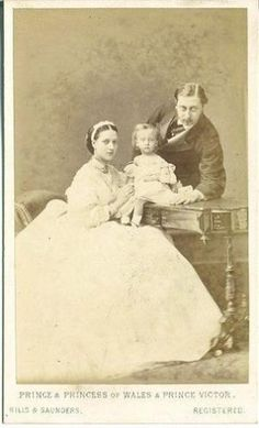 1860s, Bertie, Prince of Wales, later King Edward VII & his wife Princess Alexandra of Wales née Denmark & their eldest child Prince Albert Victor. by lula