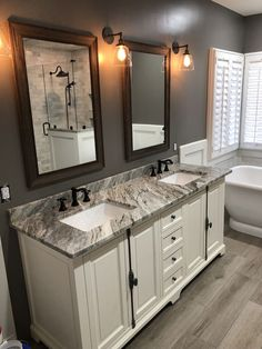 Life-changing bathroom remodel ideas for a small bathroom, vanity and bathroom mirror Looking to update your bathroom? Check out these affordable small bathroom remodel ideas and designs. Get inspired for your next home remodeling project. Small White Bathrooms, Trendy Bathroom, Bathroom Remodel Master, Bathroom Makeover, Home Remodeling, Bathroom Vanity Designs, Bathroom Renovations, Small Remodel, Bathroom Decor