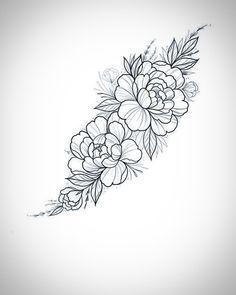 Peony Drawing, Flower Art Drawing, Flower Tattoo Drawings, Floral Drawing, Floral Tattoo Design, Flower Tattoo Designs, Rose Tattoos For Women, Tattoos For Guys, Jasmin Tattoo